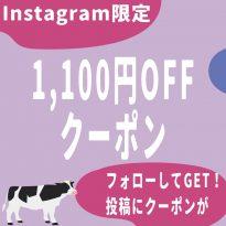 【Instagramフォロワー限定1,100円OFFクーポンのご案内】